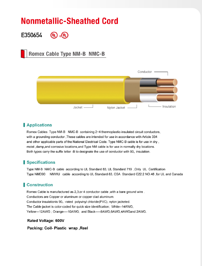 Romex Cable Type NM-B NMC-B-Nonmetallic-Sheathed Cord-WIRE & CABLE ...